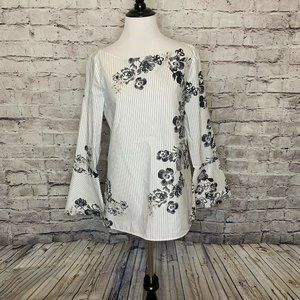 Massimo Dutti Black White Floral Striped Long Bell